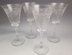 1940s Bryce Fern Leaf water goblets or wine glasses etched floral - 4 #Bryce
