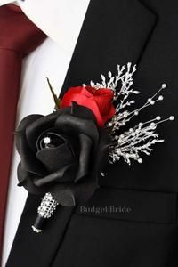 Black Silver Wedding, Black And White Wedding Theme, Black Wedding Cakes, Black And Red Tux, Black Wedding Decor, Red Wedding Hair, Black And Red Roses, Dream Wedding, Red And White Weddings