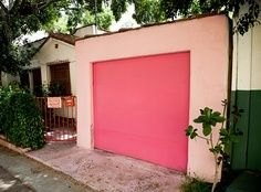 Pink garage door for girls