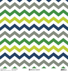 Anna Griffin - Gabbie Collection - 12 x 12 Silver Foiled Paper - Zig Zag Green