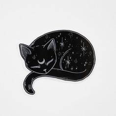 Mystical Black Cat Vinyl Sticker #blackcat #laptopsticker #sailormoon #moon #catlover #catlady