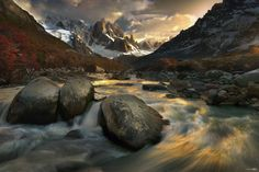 Morning at Cerro Torre, one of the mountains of the Southern Patagonian Ice Field in South America. It is located at Los Glaciares National Park in the border between Argentina and Chile.