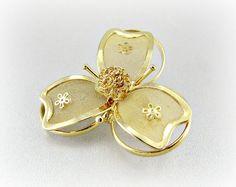 Vintage Gold Flower Brooch Pin, Mesh Metal Flower Brooch, Gold Plated Jewelry, Vintage Jewelry, 1950s Costume Jewelry, Art Nouveau Jewelry by RedGarnetVintage, $15.00