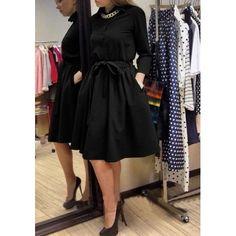 998b379d44301 MalangFashion Black Plain Single Breasted Belt Fashion Midi Dress