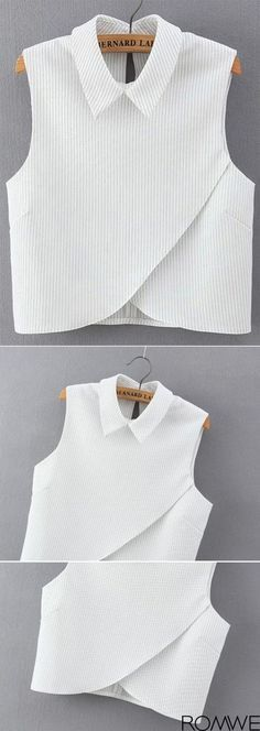 Shop Vertical Striped Wrap White Shirt at ROMWE, discover more fashion styles online. Fashion Details, Diy Fashion, Fashion Outfits, Womens Fashion, Work Fashion, Fashion Photo, Fashion News, Diy Kleidung, Vetement Fashion