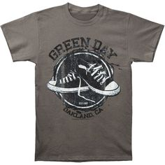 GREEN DAY All-Star Green T-shirt Rockabilia ($30) ❤ liked on Polyvore featuring tops, t-shirts, distressed t shirt, ripped t shirt, star print t shirt, torn t shirt and logo t shirts
