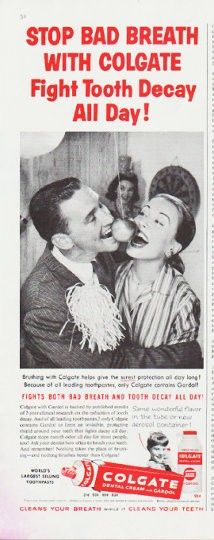 """1959 COLGATE TOOTHPASTE vintage magazine advertisement """"Stop Bad Breath"""" ~ Stop Bad Breath With Colgate ... Fight Tooth Decay All Day! ... only Colgate contains Gardol! ~"""