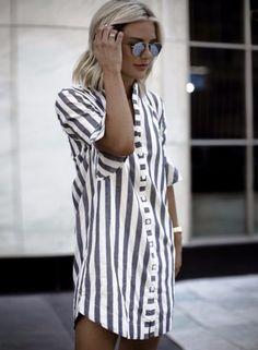 Loose Short Sleeve Striped Printed Shirt Dress OASAP.com