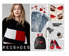 """Redshoes"" by evinejosianne ❤ liked on Polyvore featuring J.Crew, Love Moschino and Alexander Wang"