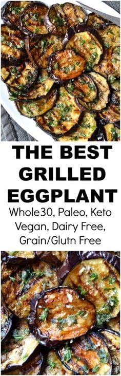 Grilled Eggplant with Garlic & Herbs Grilled Eggplant Grilling Recipes, Vegetable Recipes, Low Carb Recipes, Vegetarian Recipes, Cooking Recipes, Healthy Recipes, Free Recipes, Eggplant Dishes, Grilled Vegetables