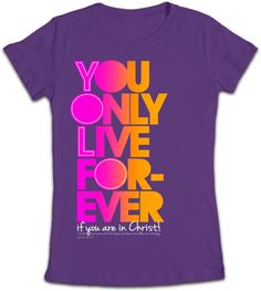 """The YOLF Junior t-shirt stands for You Only Live Forever and represent the everlasting life we can have in Christ Jesus. This purple Christian t-shirt is based on John 11:25 """"I am the resurrection and the life. Anyone who believes in me will live, even after dying."""" You Only Live Forever! So live each day like it matters, because it does."""