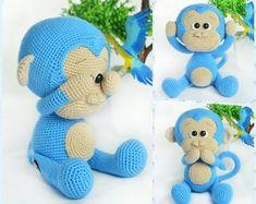 Crochet Pattern - Cute Blue Monkey (Amigurumi Toy Pattern)
