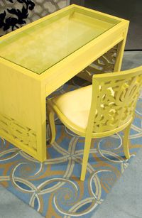 Aspen shadow table with Damask armless chair