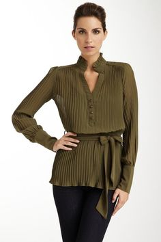 Long-sleeve, pleated belted blouse