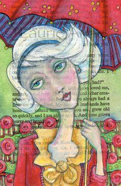 Ella Umbrella - 5x7 Art Print of Darling Ella with a Bright Red Umbrella in a Field of Red Roses, Text Art Print. $16.00, via Etsy.