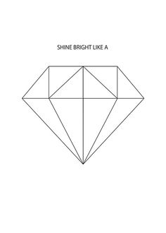 Poster with diamond and the text 'Shine bright like a'. Stylish graphical poster that is suitable with black and white home décor. www.desenio.com