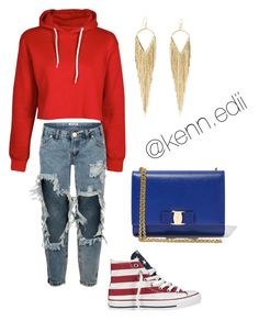 """USA"" by kennedii on Polyvore featuring Converse, One Teaspoon, Salvatore Ferragamo and Jules Smith"