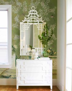In the style of pagodas found throughout China, our Pagoda Mirror is fashioned of faux bamboo. Hand-painted in a modern finish. Traditional Furniture, Traditional Decor, Bamboo Mirror, Modern Asian, Spanish Modern, Powder Room Decor, Pretty Room, Chinoiserie Chic, Faux Bamboo