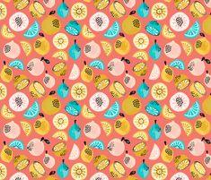 Summer Citrus - Red by Andrea Lauren fabric by andrea_lauren on Spoonflower - custom fabric