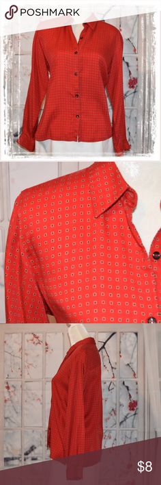 Long Sleeve Button Up Blouse Very nice and comfortable blouse in an amazing red color with a fine pattern. In expected Liz Sport style, this blouse is just easy-going yet maintains it's style and shape very while you do anything from shopping to the office, or even to the park on some days. She is in excellent condition to include the extra button still in tact. Simple but great style for any day! She measures 24 inches in length with a 22 inch sleeve. She's a sweetheart! Liz Claiborne Tops