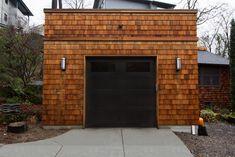 Cedar shingle flat roof garage