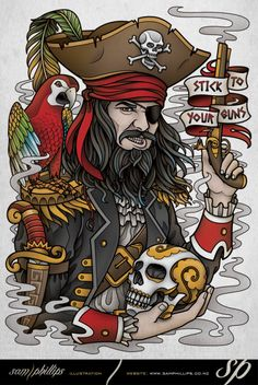 Stick To Your Guns Pirate Tee Design by Sam-Phillips-NZ on DeviantArt Pirate Tattoo Sleeve, Sleeve Tattoos, Tatto Old, Big Tattoo, Pirate Tattoo Traditional, Traditional Tattoo Design, Tattoo Drawings, Body Art Tattoos, Tatuagem Old Scholl