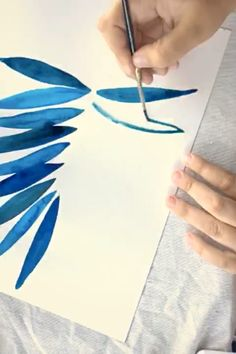 Painting # - Home Painting Watercolor Pencil Art, Watercolor Video, Watercolor Art Paintings, Watercolor Leaves, Hand Painting Art, Painting & Drawing, Art Storage, Botanical Wall Art, Blue Art