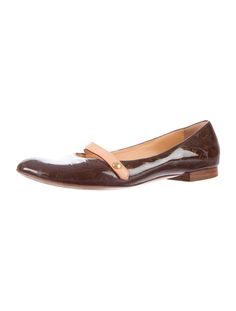 Brown and olive patent leather Louis Vuitton round-toe LV monogram flats with tonal stitching throughout, stacked heels and button snap buckle closures at tops.  Includes box and dust bag.