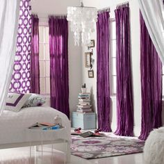 purple curtains and blue walls... Probably would never do this but ...