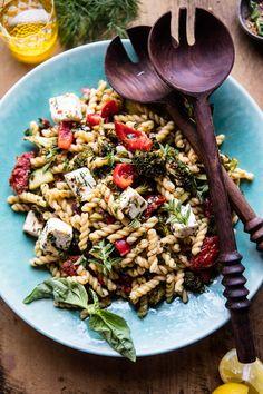 Greek Lemon Roasted Broccoli Pasta Salad | halfbakedharvest.com @hbharvest