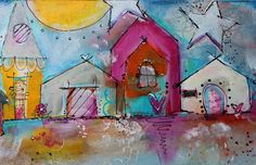 Living On Cloud Nine original painting funky whimsical by JodiOhl  10 x 20 acrylic