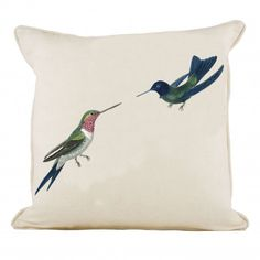 Kissing Hummingbirds Cushion in White Linen