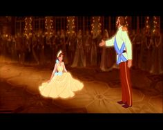 """Anastasia's father offers her a dance in her memory/dream sequence of """"Once Upon A December""""."""