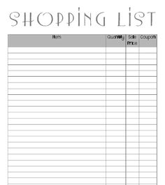 Coupon friendly shopping list print out.