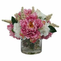 "Add a charming centerpiece to your dining or coffee table with this beautiful faux amaranth and peony arrangement, showcasing lush blossoms nestled in a clear glass vase.    Product: Faux floral arrangementConstruction Material: Silk and glassColor: Pink, white and greenFeatures: Includes faux peoniesDimensions: 13"" H x 15"" Diameter"