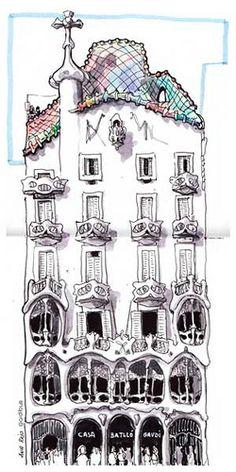 Obra del arquitecto Antoni Gaudí. Se trata de una remodelación integral de un edificio previamente existente en el solar. blog Casa Gaudi, Antoni Gaudi, Tatuagem Art Nouveau, Watercolor Architecture, Urban Sketching, Barcelona Spain Travel, New Art, Images, House Drawing