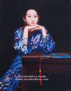 Chinese Lady, silk hand embroidered painting, Chinese hand embroidery art, all handmade with silk threads on silk satin, from Suzhou China Su Embroidery Studio