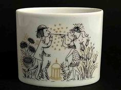 Studio Linie Signed 8 cm high Vases, Earthenware, Ceramics, Mugs, Drawings, Tableware, Romance, Lovers, Inspiration