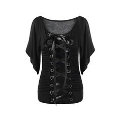 Lace Up Cold Shoulder T Shirt ($20) ❤ liked on Polyvore featuring tops, t-shirts, lace up front top, laced tops, open shoulder t shirt, lace up tee and cut out shoulder tee