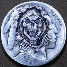 NARIMANTAS PALSIS HOBO NICKEL - 1936 BUFFALO NICKEL 3d Cnc, Banner, Hobo Nickel, Coin Art, Friends With Benefits, Old Coins, Grim Reaper, Coin Collecting, Skull Art