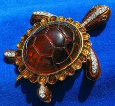 Enormous Amber Rhinestone Turtle Brooch