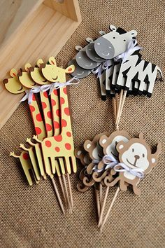 Free US Shipping - Animal Cupcake Toppers – Jungle Baby Shower Decorations Safari Party, Jungle Theme Parties, Jungle Party, Baby Party, Safari Theme, Jungle Safari, Baby Shower Cupcakes, Baby Boy Shower, Baby Shower Safari