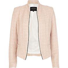 Pink Tweed Textured Jacket by River Island, $100