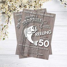 Fishing Birthday Invitation | Fishing Invites | Surprise Fisherman Birthday | 30th 40th 50th 60th 70th 80th | Take the Bait | Reel Big One