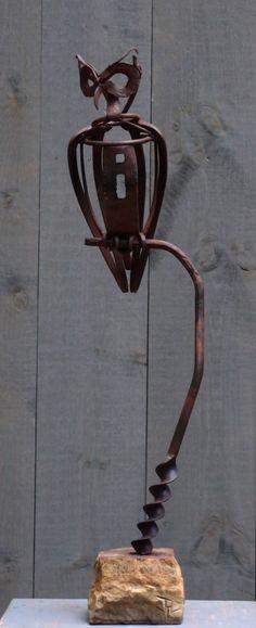 """Great Horned Owl"" Reclaimed Farm Tools"