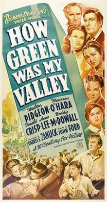 """A DAY in MOVIE HISTORY - Oct """"How Green Was My Valley"""" based on the novel by Richard Llewellyn, directed by John Ford and starring Walter Pidgeon and Maureen O'Hara premiered in New York (Best Picture Old Movies, Vintage Movies, Vintage Posters, Academy Awards Best Picture, Oscar Best Picture, Westerns, Francois Truffaut, Maureen O'hara, John Ford"""