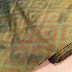 Pure silk Ikat Fabric Green and Brown - Buy online Ikat Silk or Pochampally silk fabrics