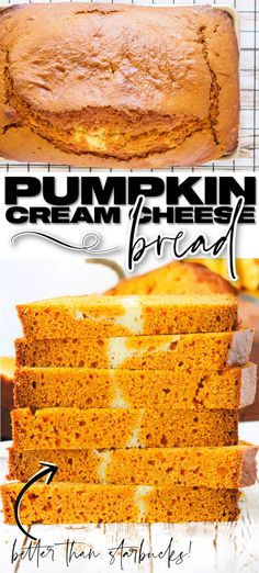 EASY PUMPKIN CREAM CHEESE BREAD Pumpkin Cream Cheese Bread, Pumpkin Bread, Easy Shortbread Cookie Recipe, Frozen Pumpkin, Best Bread Recipe, Coffee Dessert, Pumpkin Breakfast, Baking Recipes, Bread Recipes