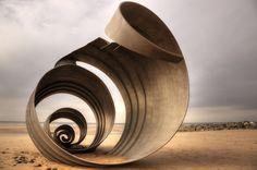 Cleveleys beach metal shell sculpture