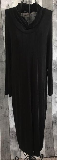Chicos Travelers Dress Black Stretch Jersey Cowl Neck Mid Calf Size 1/Medium 8 #Chicos #Dress